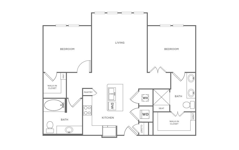 B2.2 - 2 bedroom floorplan layout with 2 baths and 1019 square feet. (2D)