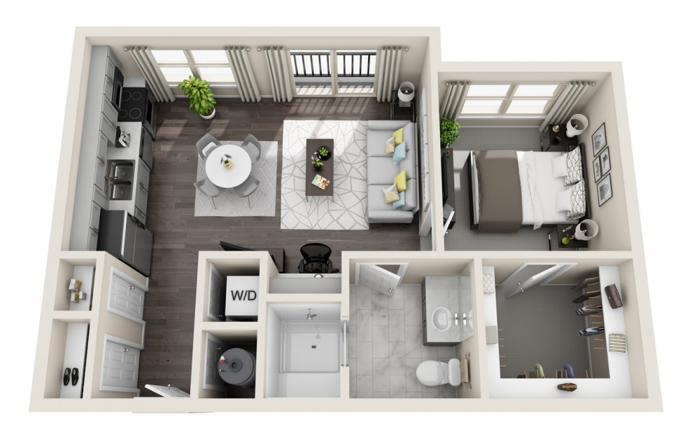 A1.1 - 1 bedroom floorplan layout with 1 bath and 648 square feet. (3D)