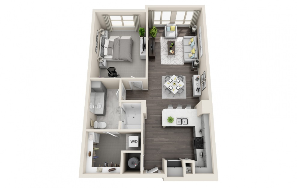 A1.3 - 1 bedroom floorplan layout with 1 bath and 787 square feet. (3D)
