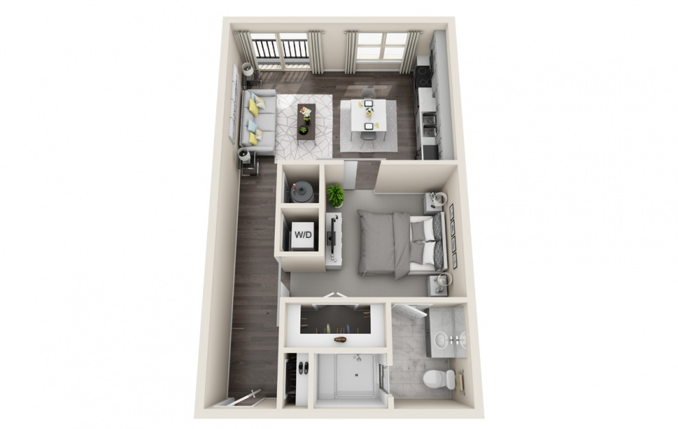 A1 - 1 bedroom floorplan layout with 1 bath and 629 square feet. (3D)