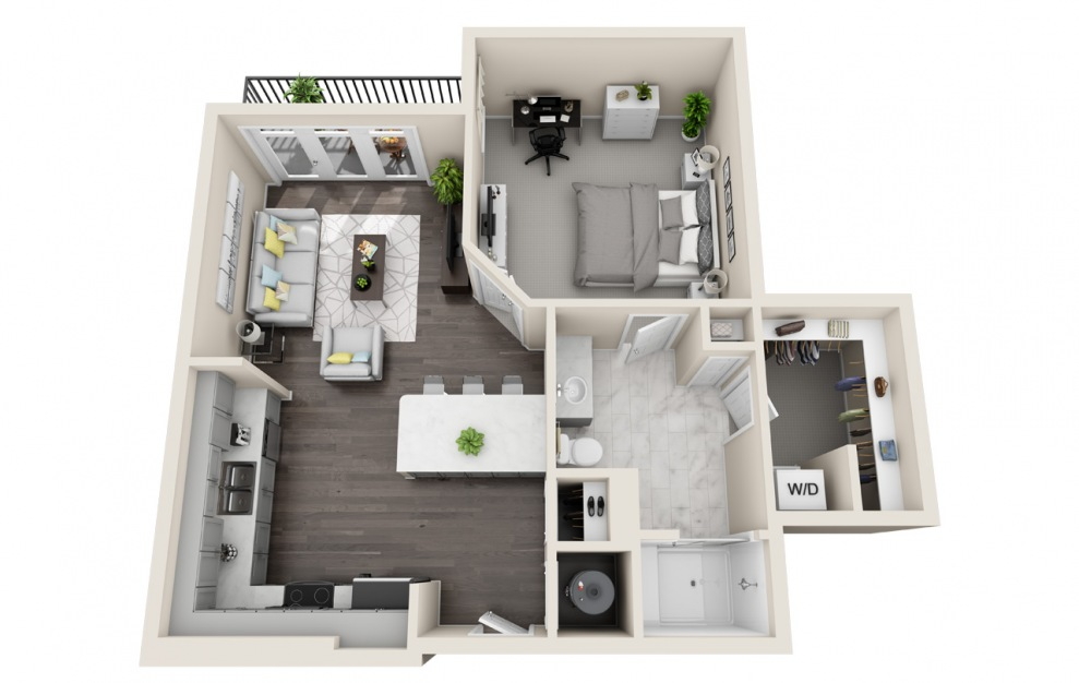 A1.7 - 1 bedroom floorplan layout with 1 bath and 728 square feet. (3D)