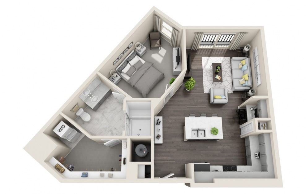 A1.8 - 1 bedroom floorplan layout with 1 bath and 710 square feet. (3D)