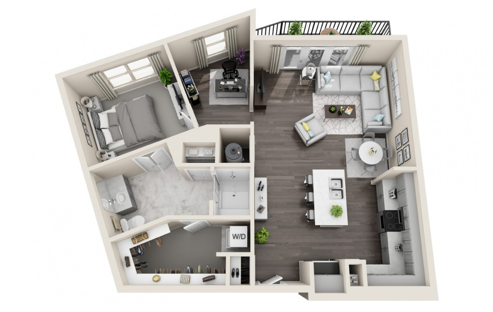 A1.9 - 1 bedroom floorplan layout with 1 bath and 864 square feet. (3D)