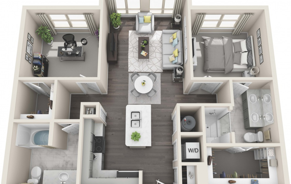 B2.2 - 2 bedroom floorplan layout with 2 baths and 1019 square feet. (3D)
