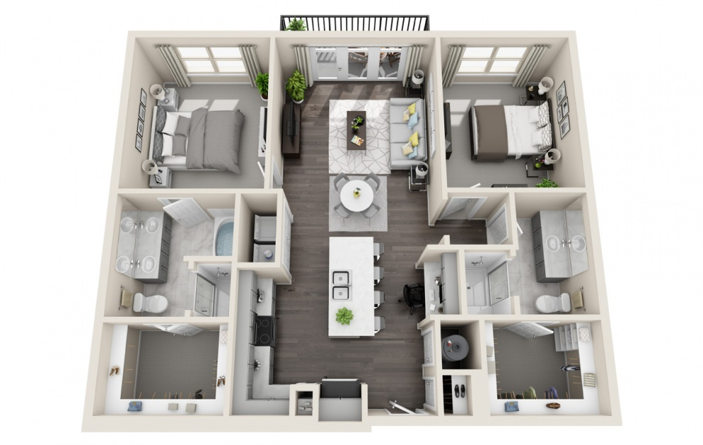 B2.3 - 2 bedroom floorplan layout with 2 baths and 1159 square feet. (3D)