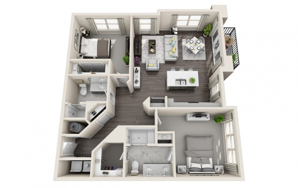B2.6 - 2 bedroom floorplan layout with 2 baths and 1192 square feet. (3D)