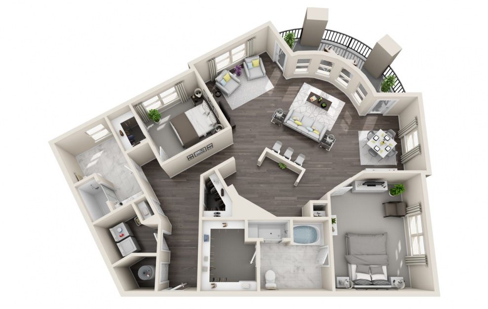 B2.7 - 2 bedroom floorplan layout with 2 baths and 1560 square feet. (3D)