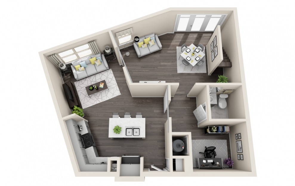 T1 - 1 bedroom floorplan layout with 1.5 bath and 1524 square feet. (Floor 1 / 3D)