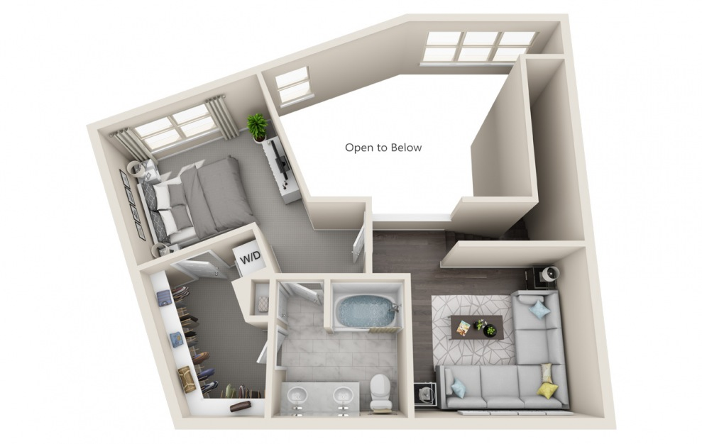 T1 - 1 bedroom floorplan layout with 1.5 bath and 1524 square feet. (Floor 2 / 3D)