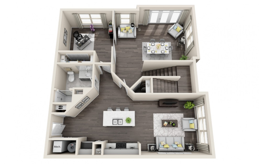 T3 - 3 bedroom floorplan layout with 3 baths and 1924 square feet. (Floor 1 / 3D)