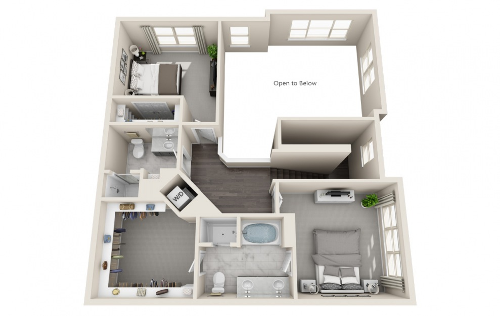 T3 - 3 bedroom floorplan layout with 3 baths and 1924 square feet. (Floor 2 / 3D)