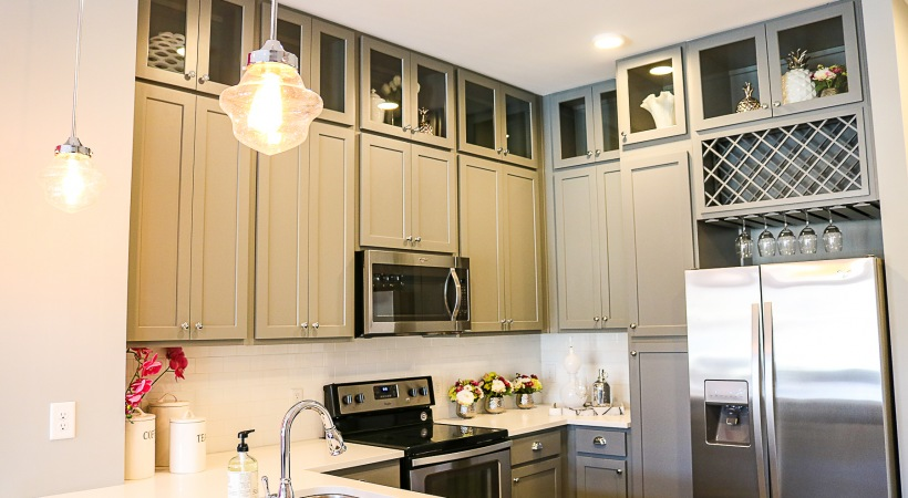 Large kitchen cabinets with built-in wine racks