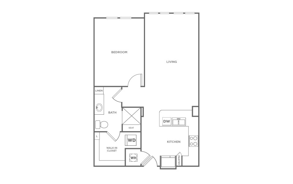 A1.3 - 1 bedroom floorplan layout with 1 bath and 787 square feet. (2D)