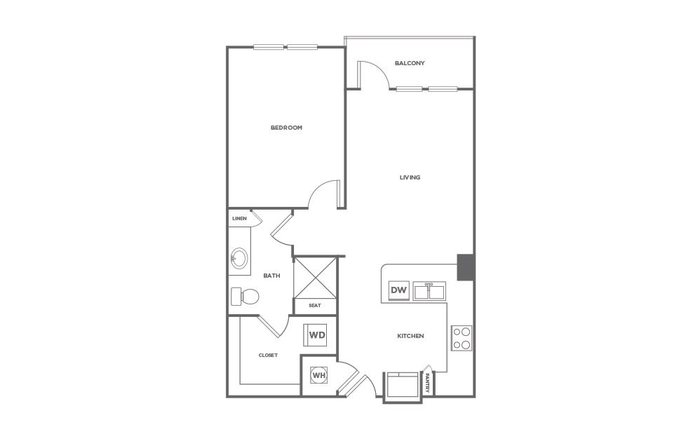A1.2 | 1 Bed, 1 Bath, 727 sq. ft. Apartment at Point on Scott