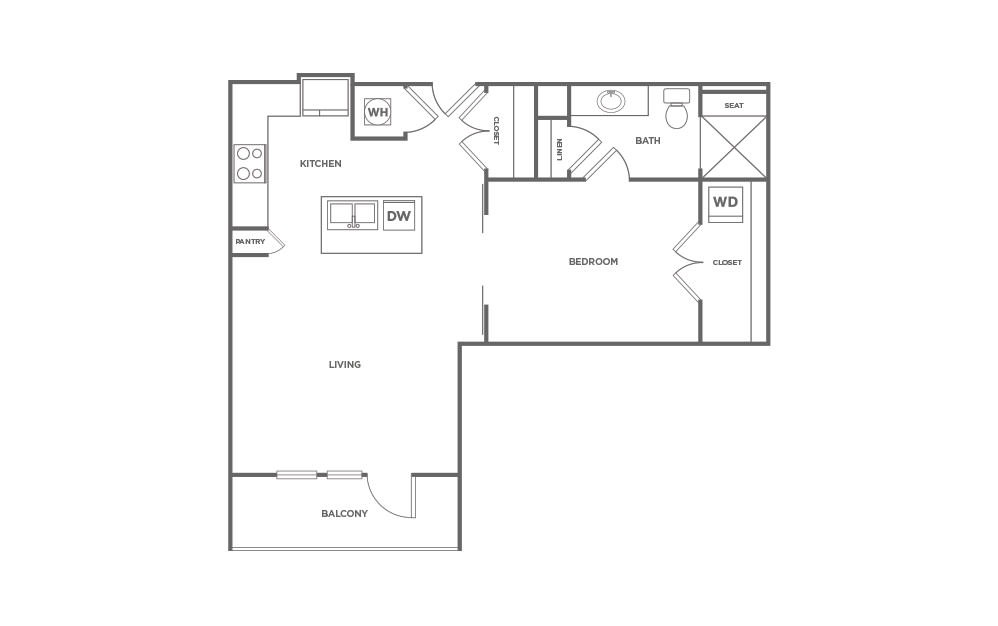 A1.4 - 1 bedroom floorplan layout with 1 bath and 770 square feet. (2D)