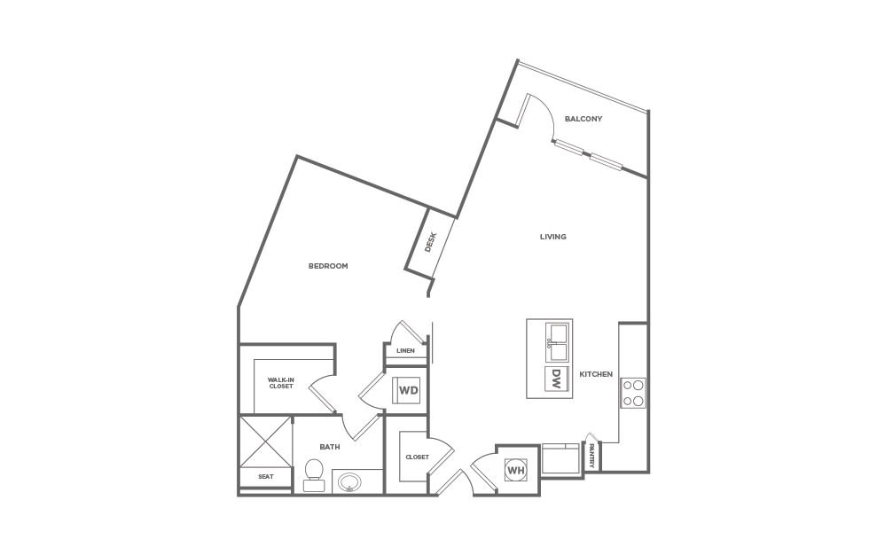 A1.5 | 1 Bed, 1 Bath, 848 sq. ft. Apartment at Point on Scott