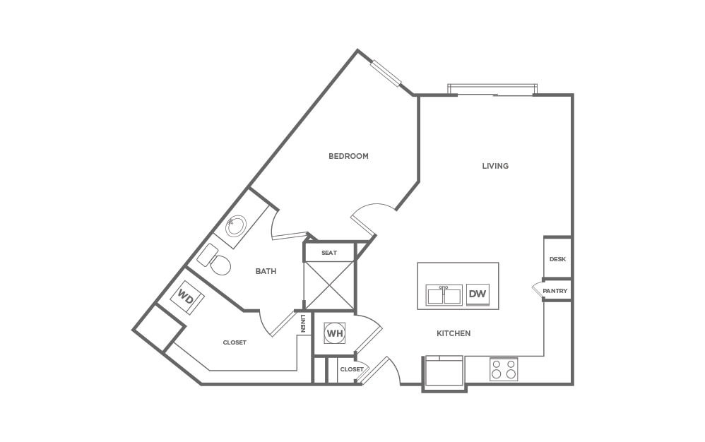 A1.8 floorplan at Point On Scott - Luxury one bedroom apartment in Decatur, GA