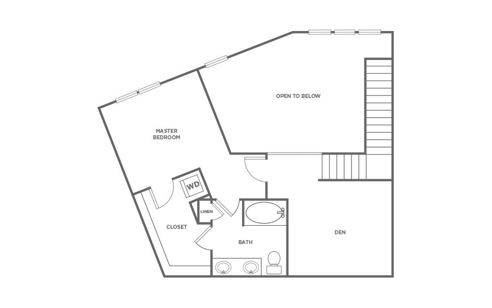 T1 - 1 bedroom floorplan layout with 1.5 bath and 1524 square feet. (Floor 2 / 2D)