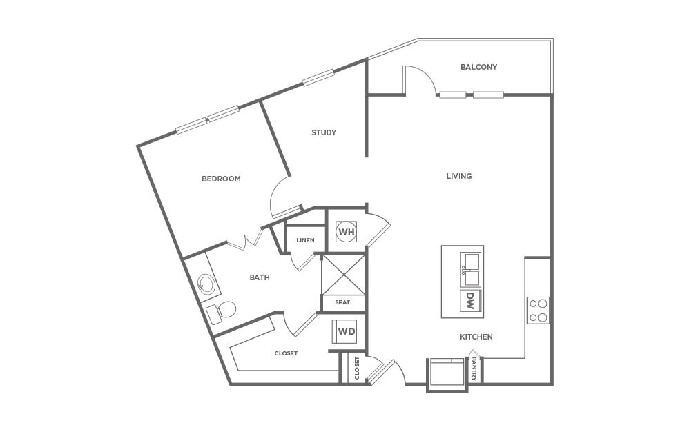 A1.9 - 1 bedroom floorplan layout with 1 bath and 864 square feet. (2D)