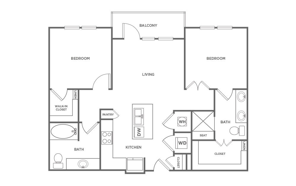 B2 - 2 bedroom floorplan layout with 2 baths and 953 square feet. (2D)