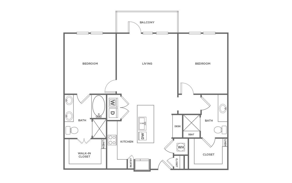 B2.3 - 2 bedroom floorplan layout with 2 baths and 1159 square feet. (2D)