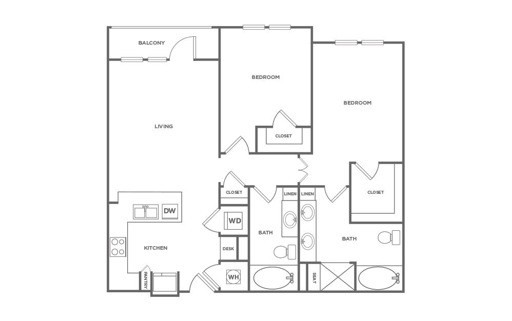 B2.5 | 2 Bed, 2 Bath, 1158 sq. ft. Apartment at Point Scott