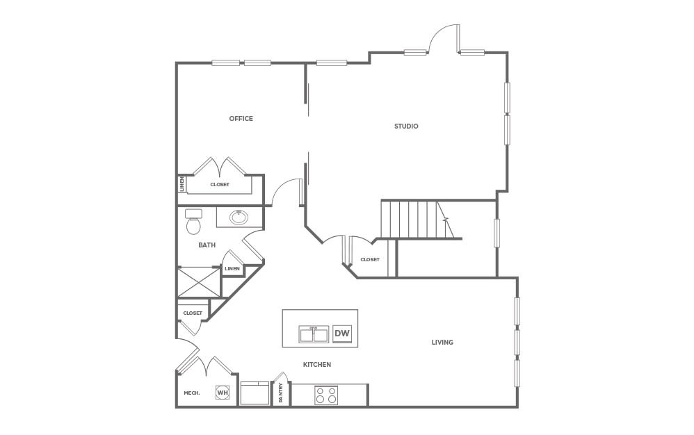 T3 - 3 bedroom floorplan layout with 3 baths and 1924 square feet. (Floor 1 / 2D)