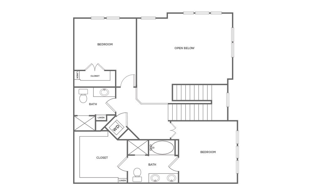 T3 - 3 bedroom floorplan layout with 3 baths and 1924 square feet. (Floor 2 / 2D)