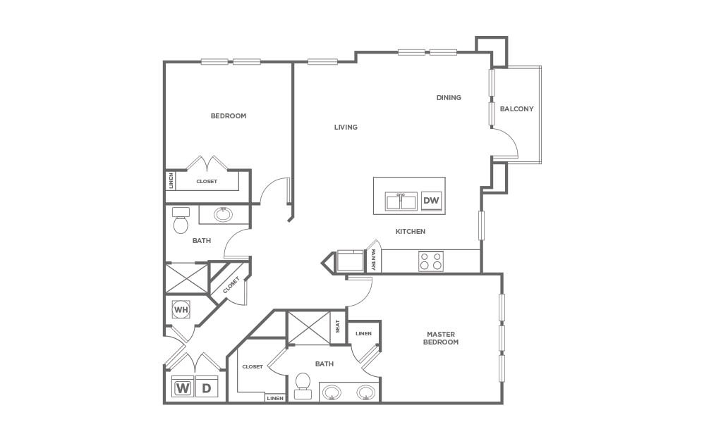 B2.6 - 2 bedroom floorplan layout with 2 baths and 1192 square feet. (2D)