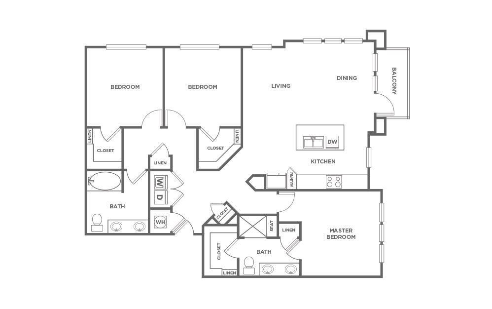 C2 - 3 bedroom floorplan layout with 2 baths and 1444 square feet. (2D)