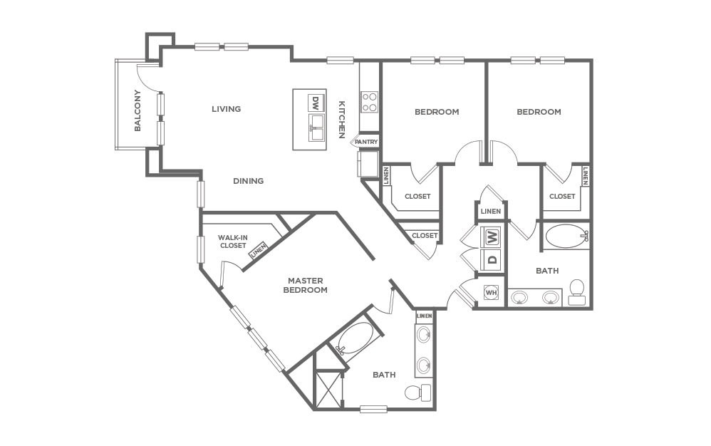 C2.1 - 3 bedroom floorplan layout with 2 baths and 1501 square feet. (2D)
