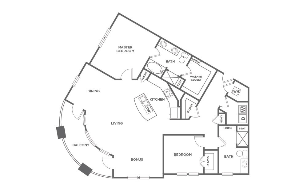 B2.7 - 2 bedroom floorplan layout with 2 baths and 1560 square feet. (2D)