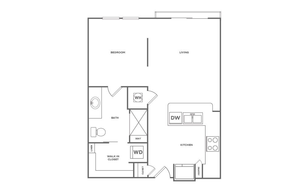 S1 - Studio floorplan layout with 1 bath and 585 square feet. (2D)