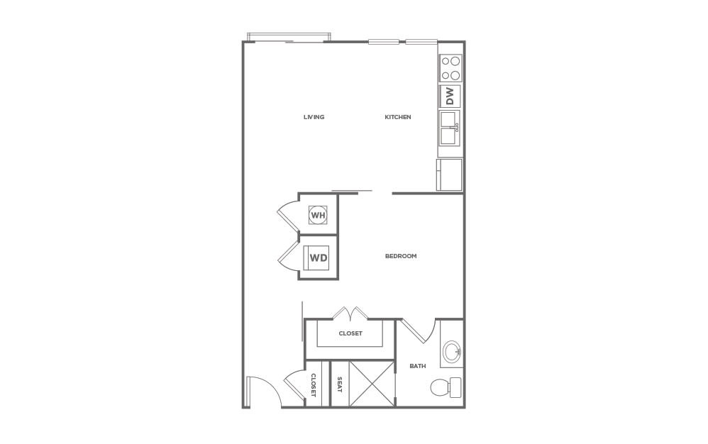 A1 - 1 bedroom floorplan layout with 1 bath and 629 square feet. (2D)