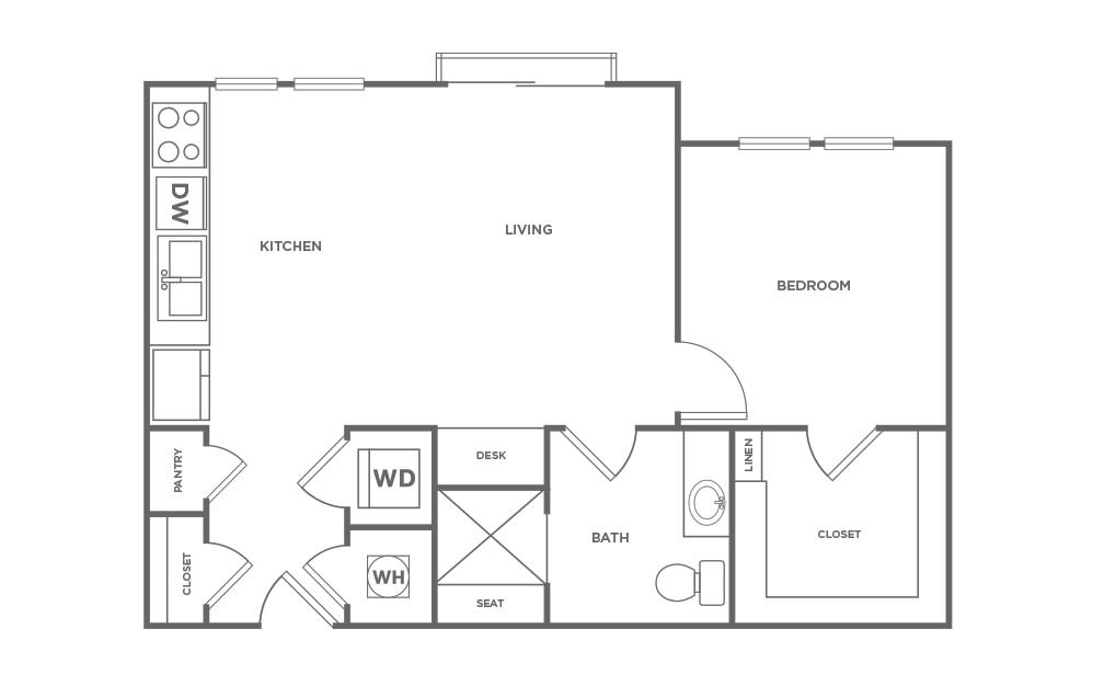 A1.1 - 1 bedroom floorplan layout with 1 bath and 648 square feet. (2D)