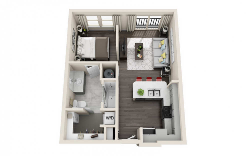 S1 - Studio floorplan layout with 1 bath and 585 square feet. (3D)