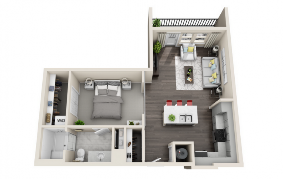 A1.4 - 1 bedroom floorplan layout with 1 bath and 770 square feet. (3D)