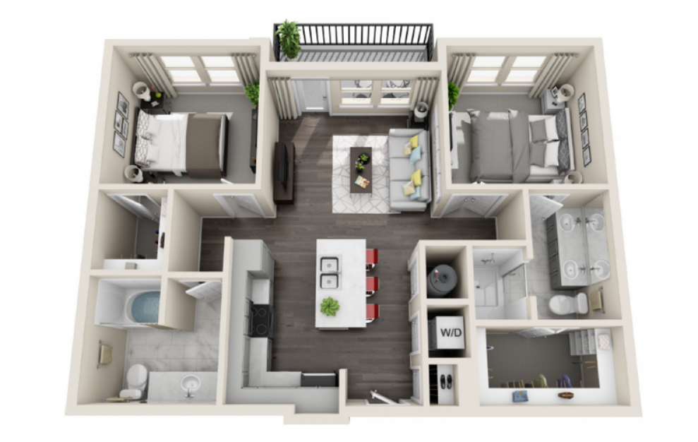 B2 - 2 bedroom floorplan layout with 2 baths and 953 square feet. (3D)