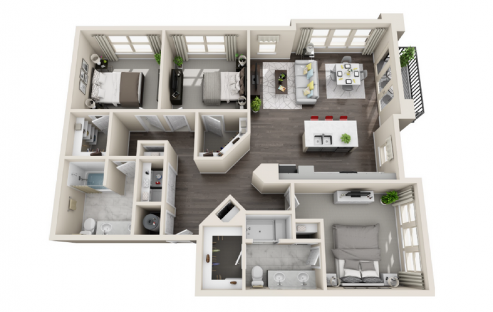 C2 - 3 bedroom floorplan layout with 2 baths and 1444 square feet. (3D)